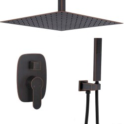 Bathroom Brass 10 Inch Ceiling Mount Rainfall Shower System Mixer Set (Oil Rubbed Bronze)
