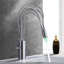 Modern Single Handle Single Hole Nest LED Bathroom Sink Faucet
