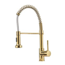 Single Handle 16-Inch Commercial Spring Kitchen Faucet with Dual Function Pull Down Spray Head, Polished Gold