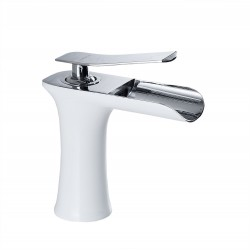 Modern Bathroom Vessel Sink Faucet Large Rectangular Waterfall Spout Single Handle Vanity Faucet, White&Chrome