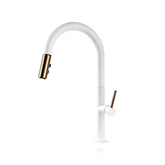 White Kitchen Spray Tap with Pull Out Spray 360 Degree Rotation Kitchen Sink Tap Single Lever Single Hole Hot and Cold Sink Mixer Faucet