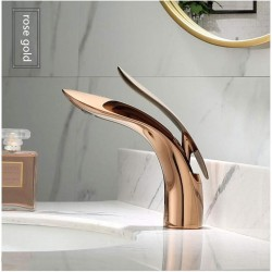 Basin Faucets Gold Brass Bathroom Faucet Single Handle Basin Mixer Tap Bath Faucet Copper Leaf Shape Sink Water Crane Tap Hot And Cold Water Mixer Tap,Rose Gold