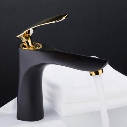 Frap Basin Faucet Bathroom Gold Handle Black Body Faucet Painting Finish Basin Sink Tap Mixer Hot & Cold Water Faucet in Basin Faucets from Home Improvement