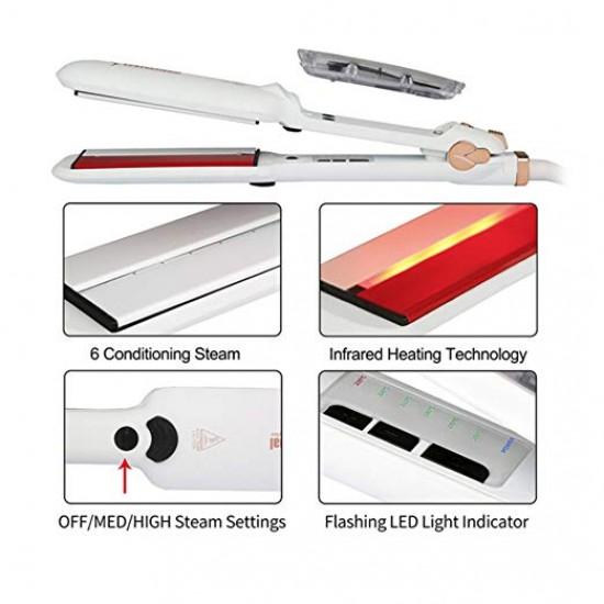 Steam Straighteners for Hair, Professional Salon Ceramic Tourmaline Vapor Steam Flat Iron Hair Straightener, Dual Voltage 2 in 1 Straightening Curling, LED Display with Adjustable Temp.