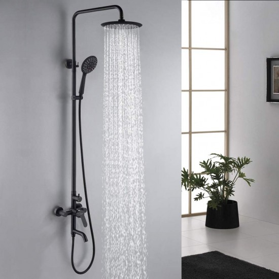 Shower System,Lead-Free SUS 304 Stainless Steel Bathroom Faucet Set with 9 Inch Round Rainfall Showerhead,Handheld Shower,Wall Mount Adjustable Shower Bar,Triple Function,Matte Black