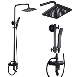 Classic Exposed Shower System Square Rainfall Handheld Shower Head Set with Tub Spout,Matte Black