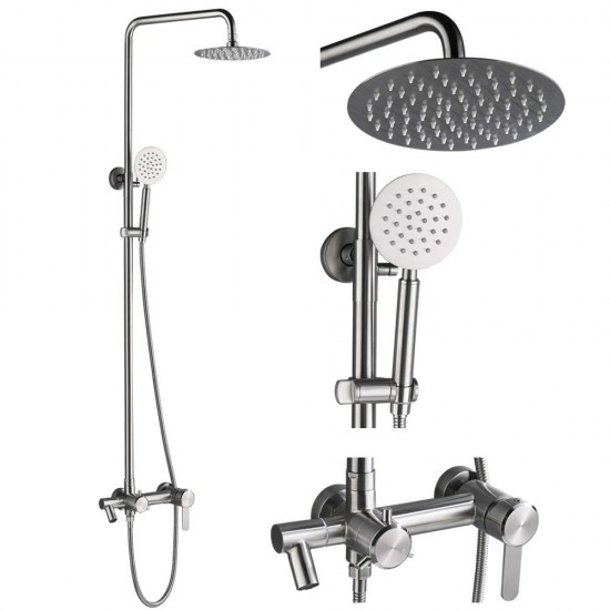 Shower Fixtures with Hand Shower and Tub Spout,SUS 304 Stainless Steel Wall Mounted Outdoor Shower,Brushed Nickel