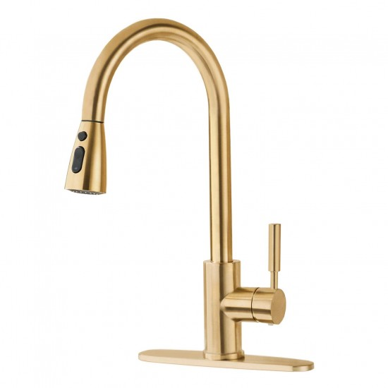 Single Handle High Arc Swivel Spout Pull Out Kitchen Sink Faucet Brushed Gold