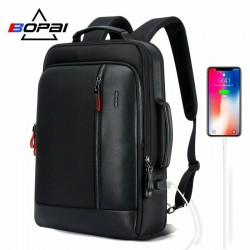 15.6inch Anti Theft Business Laptop Backpack Slim College Leather Backpack