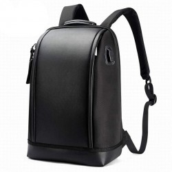 Shell Shape Business Men's Office Work Backpack USB Charge Cool Male Leather Daypack Men's Shoulder Bags Black
