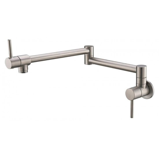 Modern Pot Filler Faucet Brass Wall Mounted only Cold Pot Filler with Dual Swing Kitchen Sink Faucet Gold Double Joint Spout Faucet