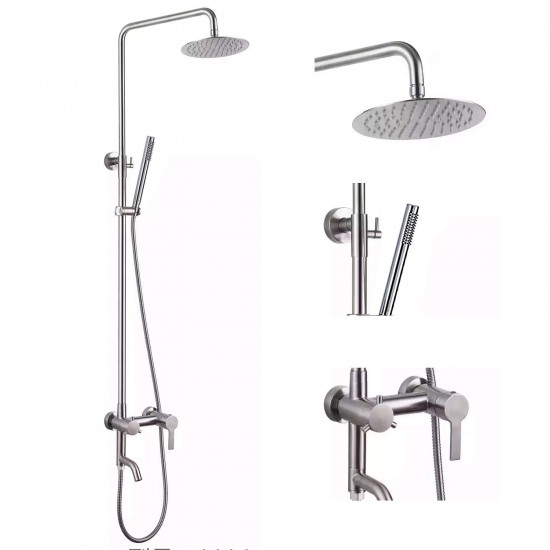 "Outdoor Shower Fixture SUS304 Triple Function Brushed Nickel Wall Mounted Stainless Steel Shower Faucet System Set with Hand Spray,7.9"" Rain Shower Head"