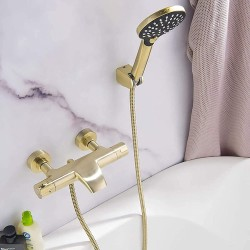 Thermostatic Bath Tap with Handheld Shower, Brass Filler Mixer Tap Wall Mounted Bathroom Shower System Modern Bathtub Shower Faucet Set Brushed Gold