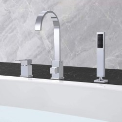 Modern Chrome Finish 3 Holes Single Handle Roman Bathtub Filler Faucet with Handheld Shower Waterfall Spout
