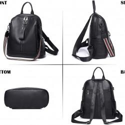 Soft Leather Backpack Purse Fashion Designer Shoulder backpacks for Ladies (Black)