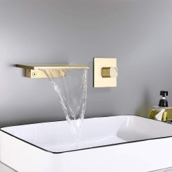 Waterfall Wall Mount Bathroom Sink Faucet Single Knob Solid Brass (Brushed Gold)
