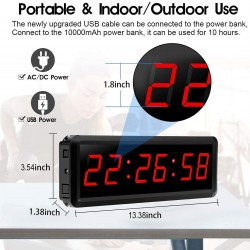LED Gym Timer Interval Timer with Remote, Countdown/Up Wall Clock, Fitness Timer Stopwatch for Gym Home 1.8 inch