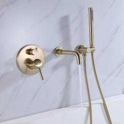 Wall Mount Bathtub Faucet Swivel Spout Tub Filler Faucet with Handheld Sprayer Single Handle Solid Brass (Brushed Gold)