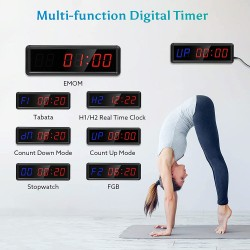 Gym Interval Timer, Stopwatch Clock with Remote, 1.5 inch Interval Timer Clock Countdown Timer Clock for Home Gym Workout EMOM MMA HIIT