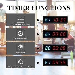 LED Interval Timer Count Down/Up Clock Stopwatch with Remote for Home Gym Fitness
