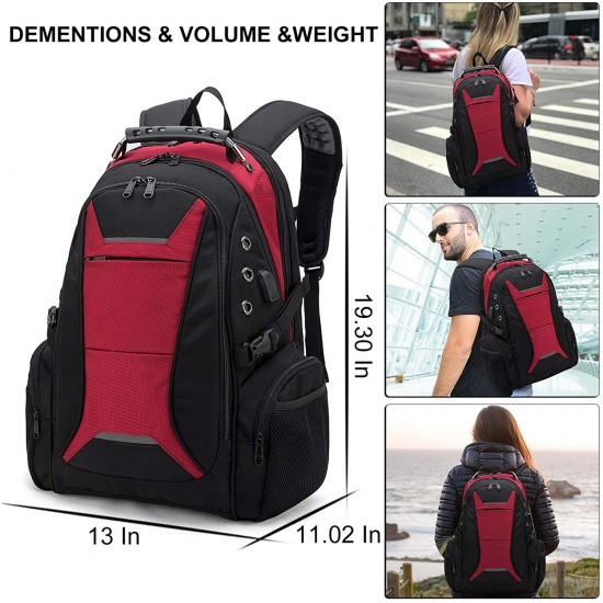 17 Inch Laptop Backpack for Men, Large Travel Backpack for Laptop with USB Charging Port, Suit for Business College High School