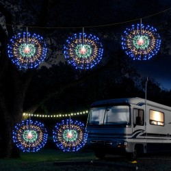 4 Pieces Firework Lights LED String Lights Fairy Decorative Twinkle Starburst Lights with Remote Control for Patio Party Indoor Home Decoration