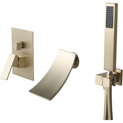Waterfall Wall Mount Bathtub Filler Faucet Burshed Gold Tub Filler Faucet with Handshower Single Handle Solid Brass