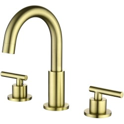 3 Hole Brass Bathroom Sink Faucet, 2 Handle 8 Inch Widespread Laundry Sink Faucet with Valve and cUPC Water Supply Lines, Brushed Gold
