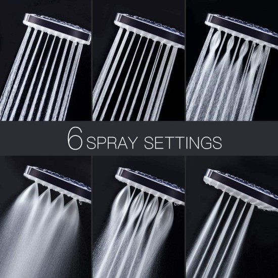 "High Pressure Shower Head with handheld, 6 Spray Settings Handheld Shower Head with 59"" Stainless Steel Shower Hose and Adjustable Bracket"