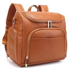 Diaper Bag Backpack, 5-in-1 Leather Travel Back Pack Large Capacity Organizer (Brown)
