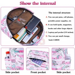 Rainbow Unicorn Backpack Kids School Bag 3-in-1 Bookbag Set, Twinkle Laptop Backpack Lunch Bag Pencil Case for Teen Girls Womens
