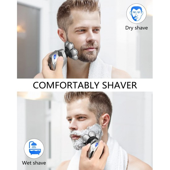7D 5-in-1 Electric Head Shaver for Bald Men - Modern Design Head Shavers - Electric Men's Grooming Kit - Anti-Pinch, Cordless, and Rechargeable