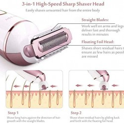 Electric Shaver for Women,6 in 1 Lady Electric Wet/Dry Shaver for Legs & Underarms, Cordless Electric Razor with 2 Cleansing Brush,1 Massager for Face,1 Foil Shaver,1 Bikini Trimmer for Body, Bikini