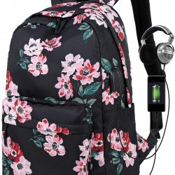 Floral School Backpacks for Women Bookbag USB Charging Port Black