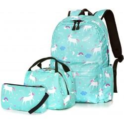 Dream Unicorn School Bag Kids 3-in-1 Bookbag Set,Laptop Backpack Lunch Bag Pencil Case Gift for Teen Girls Womens Green