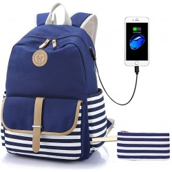 """Canvas Backpack for Teen Girls, Lightweight Cute Striped School Bookbag with USB Charging Port&Pencil Case, Charging Backpack Set for Women College 15.6"""" Laptop Bag Travel Daypack, Blue"""