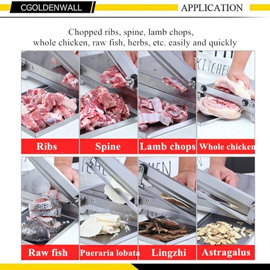 Manual Meat Slicer Ribs Chopper Bone Cutter, Stainless Steel 13.5-inch Double Knife, Food Storage Shovel, for Cutting Whole Chicken Fish Ribs and Slicing Frozen Meat Beef Vegetables