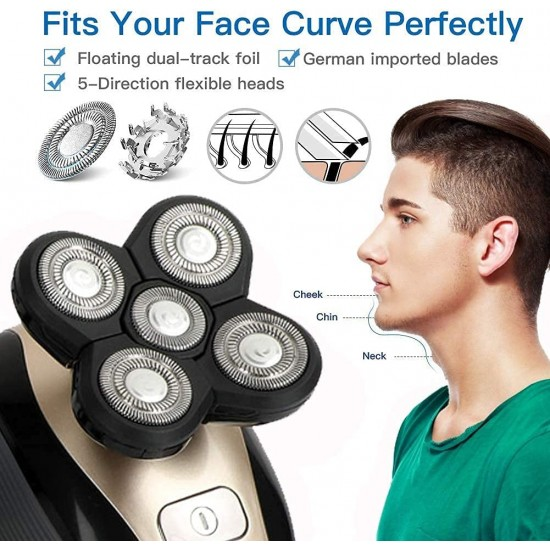 Electric Razor for Men, 5 in 1 Hair Razor for a Perfect Bald Look, Waterproof Faster-Charging Electric Shaver & Grooming Kit with Five-Headed Beard,Cordless and USB Rechargeable