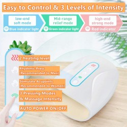 Cordless Hand and Finger Massager with Heat , Hand Massager for Arthritis with 3 Air Compression Levels & Heating,Rechargeable Hand Massager Machine for Pain and Circulation