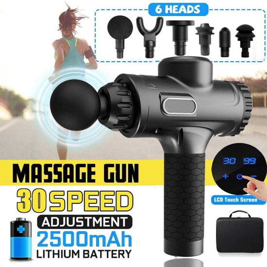 LCD Display Muscle Massage Gun for Athletes Sports Massage Therapy Gun Percussion Deep Tissue Massager Muscle Pain Body Massage Exercising Relaxation Slimming Shaping Pain Relief (Black)