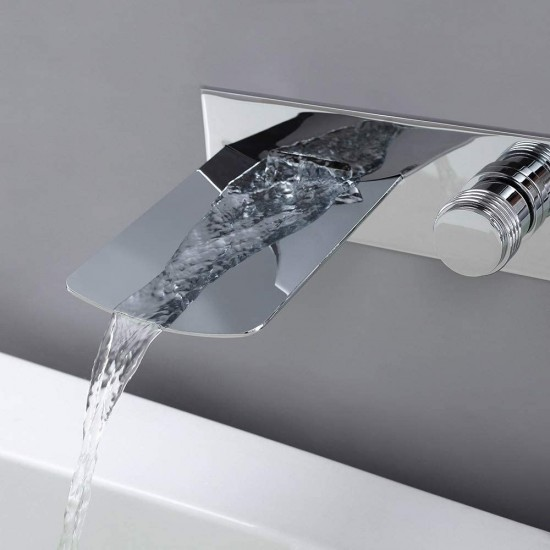 LED Chrome Wall Mounted Brass Waterfall Tub Filler Faucet With Handheld Shower (Composed of a Waterfall Faucet, Fixed Shower Head and 2 Handle Valve)
