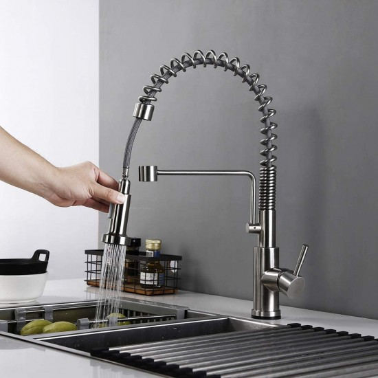 Touch On Kitchen Faucets with Pull Down Sprayer, Single Handle Kitchen Sink Faucet with Pull Out Sprayer, Stainless Steel Touch Activated Faucet (Brushed Stainless Steel)