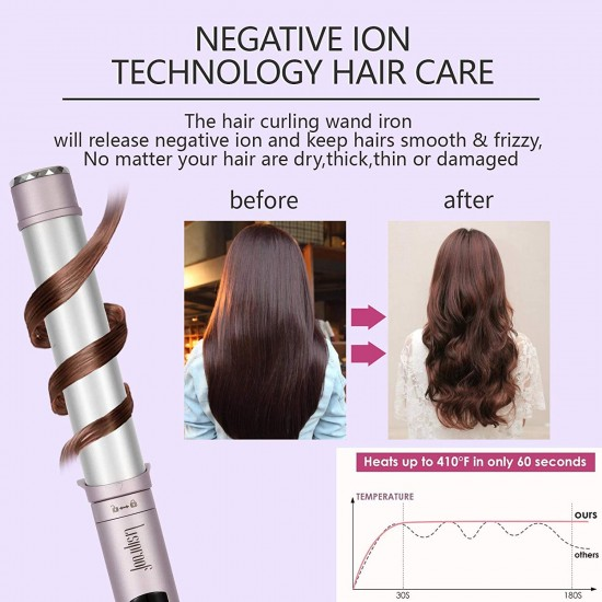 """5 in 1 Hair Curling Iron Wand Set with 5 Interchangeable Ceramic Barrels 0.5""""-1.25"""", Instant Heating Up Hair Wand for All Hairstyle with LCD Temperature Adjustment Display Dual Voltage"""