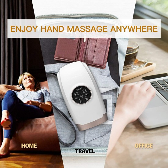 Cordless Electric Hand Massager for Arthritis Air Compression Pain Relief Gifts with 6 Levels Pressure Point Heating Shiatsu Therapy Massage Machine for Wrist Carpal Tunnel Finger Numbness