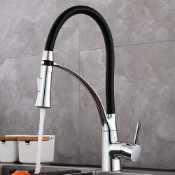 Kitchen Taps, Kitchen Tap with 360° Swivel Kitchen Mixer and Black Silicone Hose, kitchen mixer tap with 2 Modes Extractable Handheld Shower Cold & Hot Water Available Chrome Finish Solid Brass