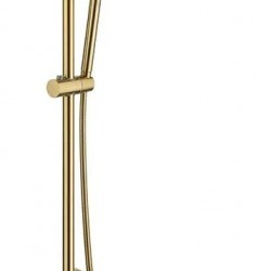 """Modern Luxury Exposed Shower System Thermostatic 10"""" Rainfall Shower Head Brushed Gold Shower Set Fixture with Hand Shower"""
