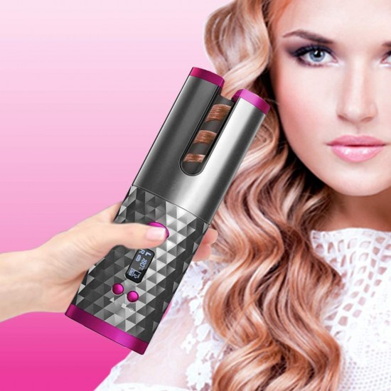 Wireless Automatic Curling Iron, Cordless Auto Curler Restriction with Built-in Rechargeable Battery, Ceramic Professional Hair Curler USB Charging and Rechargeable Portable for Worldwide Travel