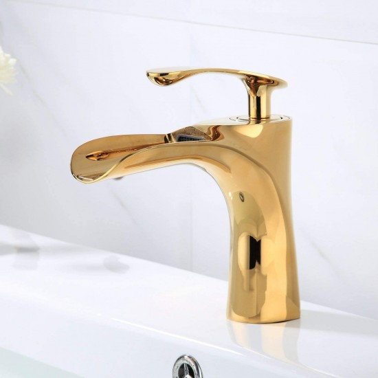 Luxury Bathroom Sink Taps Gold Chrome Finish Single Handle Waterfall Faucets for Bath 1 Hole Mount Lavatory Novelty Style