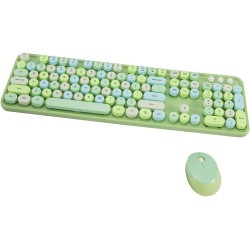 Wireless Keyboard and Mouse Combo, 2.4G USB Ergonomic Keyboard, Cute Round Retro Typewriter Keycaps for Computer, Laptop, Desktops, PC, Mac(Green Mixed Style Keyboard + Mouse)