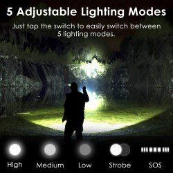 Rechargeable Led Flashlight High Lumens, 10000 High Lumens Super Bright Tactical Flashlights, Flashlights with 26650 Batteries&USB, Zoomable, 5 Modes, Waterproof Flashlight for Emergencies